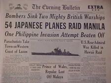 VINTAGE NEWSPAPER HEADLINE ~WORLD WAR 2 JAPANESE PLANES ATTACK RAID MANILA WWII~