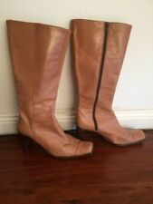 Witchery Tan Leather Long Boots Size 41