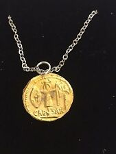 "Aureus Of Ceasar Coin WC81 Gold Pewter On a 24"" Silver Plated Chain Necklace"
