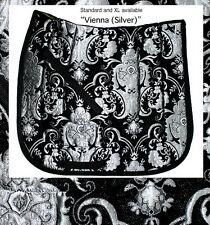 "elegant  ""VIENNA"" BLACK SILVER CHENILLE BROCADE BAROQUE DRESSAGE SADDLE PAD"
