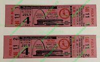 1980 lot of (2)-ST. LOUIS CARDINALS FULL BASEBALL TICKETS (UNUSED) BUSCH STADIUM