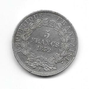 France: 1852A 5 francs silver crown size VF