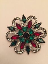 Vintage Signed Weiss  Christmas Poinsettia  Pin Brooch