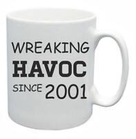 18th Novelty Birthday Gift Present Tea Mug Wreaking Havoc Since 2001 Coffee Cup