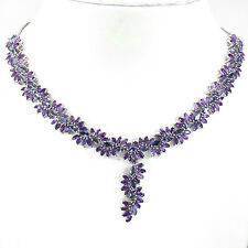 Silver 925 Genuine Natural Amethyst and Iolite Cluster Necklace 20 Inches