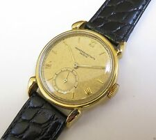 Genuine Leather Band Solid Gold Case Wristwatches