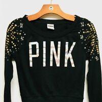 Victoria's Secret Pink black shirt top blouse tee cotton XS sequin rhinestones