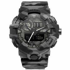 SMAEL Mens Tactical Camo Grey Digital LED Date Analog Outdoor Sport Quartz Watch