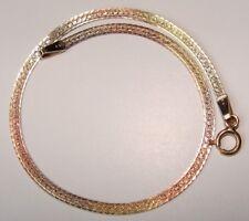 14K Tri-Color Gold Bracelet 7 in. X 2.2 mm. X 1.56 g. Italy  (B-10)