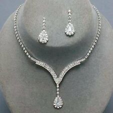 White Necklace Earrings Crystal Tennis Silver Wedding Women Jewelry Set