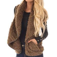 Women's Teddy Fleece Waistcoat Gilet Winter Faux Fur Vest Coat Jacket Cardigan