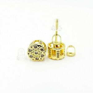 Gorgeous 14kt Gold Finish Vvs clarity crystals screw back earrings 4 colors