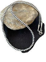 """Native American Navajo Pearls 4mm Sterling Silver Bead Necklace 18"""" Sale 820"""