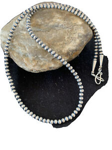 "Native American Navajo Pearls 4mm Sterling Silver Bead Necklace 18"" Sale 820"