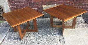 Vintage Pair Of Mid Century Cubist Frank Lloyd Wright Style Walnut End Tables