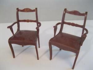 "VINTAGE MARX Dollhouse FURNITURE 2 ⅝"" Tall Brown Arm Chairs for Kitchen table"