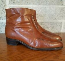 Vintage Mens Florsheim Brown Side Zip Ankle Boots Size Us 8.5 E Leather Booties
