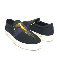 MARCELO BURLON Mens Winged Bird Canvas Print Slip On Sneakers 40 7 (MSRP $370)