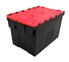 10 x Medium Plastic Crates Storage Box Containers 62L BLACK with RED LID