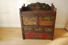 Cabinet Chest Antique Tibetan Hand Painted Cupboard Side Table Console