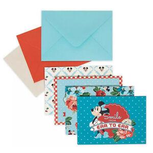 NEW! Disney Parks Set of 12 Mickey & Minnie Mouse Retro Blank Notecards