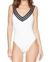 Kenneth Cole White Womens Small S Band V-Neck One-Piece Swimsuit $107- 637
