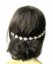 Ivory Pearl Silver Butterfly Hair Vine Headpiece Headband Bridal Diamante 1851