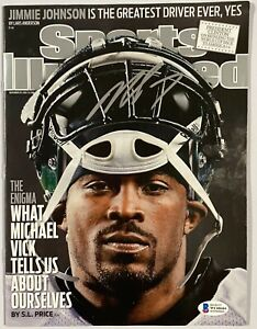 Eagles Michael Vick Signed Sports Illustrated Magazine Beckett BAS Witnessed