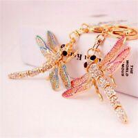 Lovely Crystal Dragonfly Pendant Keyfob Key Chain Car Bag Keyrings Keychain Gift