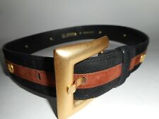 ESCADA Vintage 1980s Belt 8 38 Black Brown Suede Leather Gold Studs Les Fleur