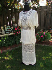 Antique 1800's to early 1900's Edwardian Light Tan Wedding Dress Cotton & Lace