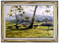 Framed Quality Hand Painted Oil Painting, Farmyard with Cows  24x36in