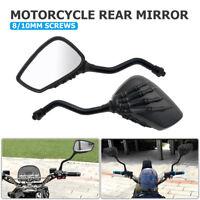 Pair 8/10mm Carbon Fiber Motorcycle Motorbike Wing Side Rear View Mirror Black