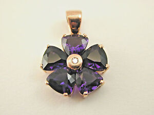 Antique Style 9 carat rose gold and Amethyst and Diamond flower pendant 21 mm