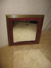 """Vintage Home Interiors Cherry Wood Square Mirror With Gold Trim 13.75"""" square"""
