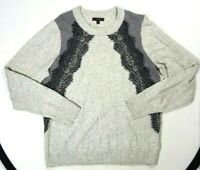 J. CREW Womens Gray Wool Blend Pullover Sweater LACE DETAIL Long Sleeve Size L