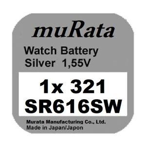 1x Murata/Sony 321 Uhren-Batterie Knopfzelle SR616SW Neu Silberoxid
