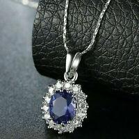 """18 Karat Weißgold gefüllt Oval Blue Sapphire Topaz Anhänger 18 """"Kette Halskette"""
