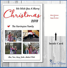 1 x PERSONALISED PHOTO COLLAGE CHRISTMAS XMAS CARD A5 CARD  FAMILY WITH ENVELOPE