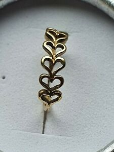 9ct 375 solid gold heart  love Shaped stack  Ring, Size N 1.6gs
