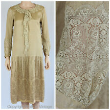 True Vintage 1920s Gatsby Day Dress Beige Silk Satin with Intricate Lace S/M