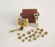 PLAYMOBIL (A2222) PIRATES - Coffre au Trésor & 18 Pièces d'Or Dorées Mat