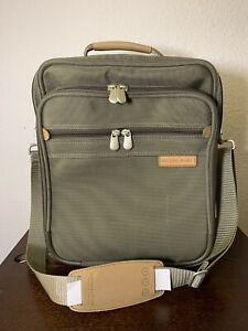 Briggs & Riley Travelware Olive Green Passenger Shoulder Book Bag 06-1125
