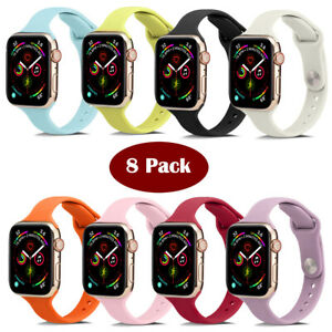 8 Pack Sports Silicone Slim Band Strap For Apple Watch Series SE 765432 38-45mm