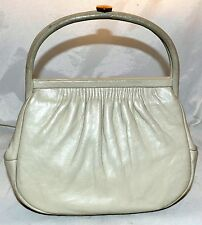 Vintage Etna Soft Genuine Leather Gray Satchel Handbag with Ruche Top