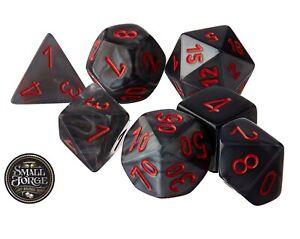 Chessex CHX27478 Velvet Black with Red, 7-Die D&D Set & Box - NEW