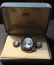 Stunning Vintage Cameo And Earring Gold Filled Set Circa 1950's