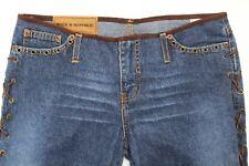 Rock & Republic Femmes Jeans Bottes Coupe W / Côté Cuir Suédé Lanières Taille 9