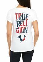 True Religion Women's TR Slash Deep V-Neck Tee T-Shirt in White