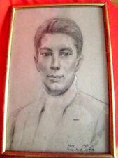 portrait encadré sous-verre d'adolescent au fusain (1969)